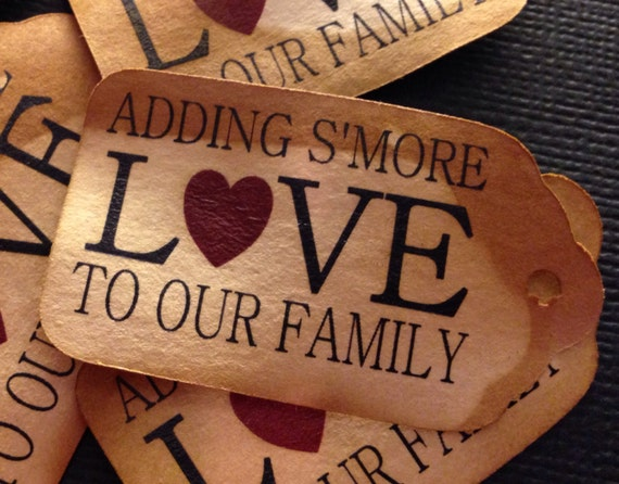"Adding S'More Love to our Family 25 SMALL 2"" Favor Tag"