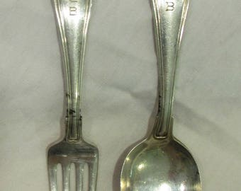 "Baby Spoon and Fork Set, Gorham Sterling Silver, Engraved ""SCB"", 1950's"