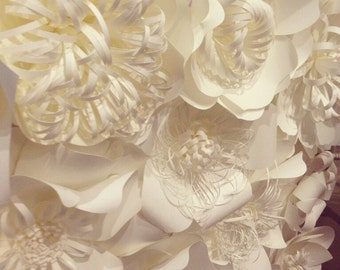 "Paper Flower Wall-""Snow White""-Backdrop"