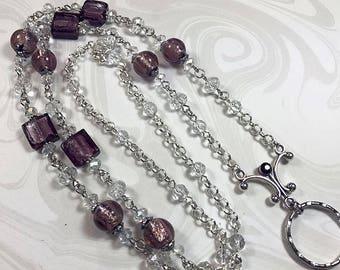 Purple Frost Lanyard, Purple Crystal Beaded ID Badge Holder, Badge Lanyard, Lanyard ID Holder, Breakaway option