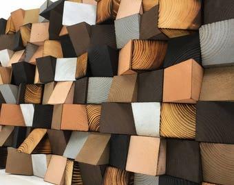 Wood Wall Art - Wood Sound Diffusor - Reclaimed Wood Art