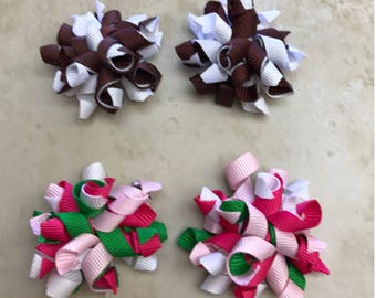 """2"""" Handmade 2 Pairs korker Bows Partially Lined Alligator Clip Various Colors baby girl toddler Spring Easter Gift Birthday goodie Bags"""