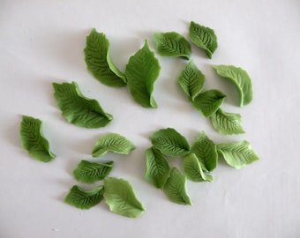 Edible 20 leaves, fondant leaves, cup cake toppers, cake toppers
