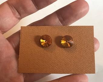Dark Orange Swarovski Crystal Post Stud Earrings