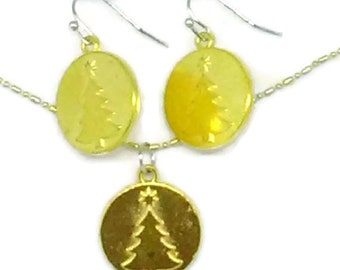 Gold Christmas Tree Charm Jewelry Set