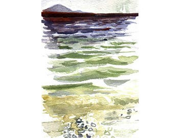 Greek Sea No 2 Card/Or Print Watercolour