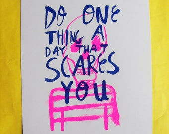 Do One Thing A Day That Scares You A4 2 Colour Risograph Illustration Skeleton Print