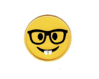 Smiley Face - Emoji - Nerd - Wearing Glasses - Iron on Applique - Embroidered Patch - 697080-SA