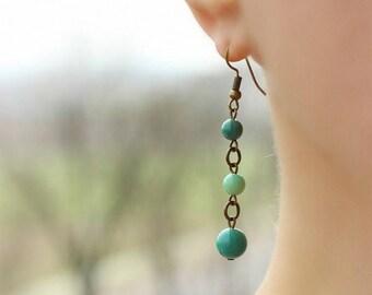 Dangle Chrysoprase Earrings Green Brass Earrings Chrysoprase Earrings Mint Green Stone Earrings Green Gemstone Earring Bronze Tone Earrings