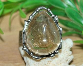 Rutilated quartz ring,  wide ring, quartz ring quartz jewelry, solitaire ring, boho rings, big stone, big rings, quartz