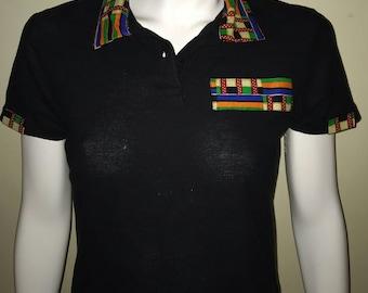 Women Dashiki Polo Black with collar and stripe (black and brown) Black Panther Wakanda Motherdays