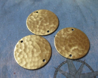 4 PC Raw Brass Hammered and Pierced Disk Finding / 20mm - RR01
