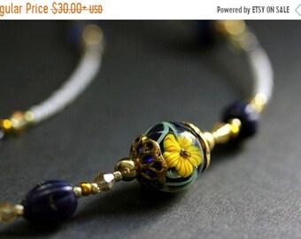MOTHERS DAY SALE Beaded Floral Eyeglass Holder. Hibiscus Badge Lanyard. Navy Blue Handmade Lanyard. Dark Blue and Yellow Eyeglass Chain. Bea