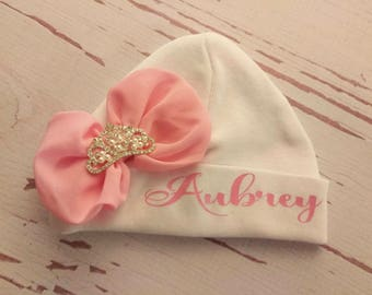Baby Girl, baby hat, personalized, hospital hat, newborn hat, baby beanie, custom, hat with name, infant, baby girl coming home outfit