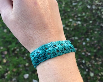 Crocheted Shell Lace Cuff Bracelet with Button Enclosure/ Teal Hand Dyed Cuff/ Jewelry