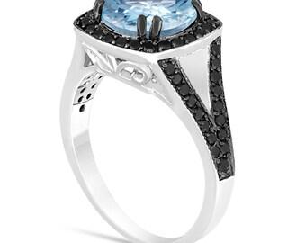 Platinum Aquamarine Engagement Ring, Aquamarine And Fancy Black Diamonds Wedding Ring 2.89 Carat Unique Halo Pave Handmade Certified