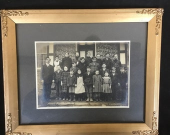 Vintage  Black White  Photographs in Gold Gilded Frame Peice Of History