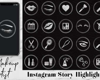 Silver Instagram Story Highlights Icons For Makeup Artist, Silver Instagram Content Icons, Silver Instagram Story Template, BUY5FOR8