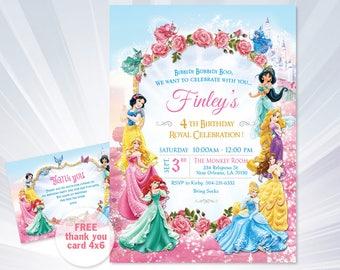 Princess Invitations - Princess Birthday Party Invitations - princess birthday party - girl invitation - Disney Princess Invitation
