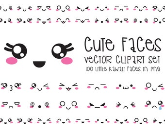 Premium Vector Clipart - Kawaii Faces - Cute Faces Clipart Set - High Quality Vectors - Instant Download - Kawaii Clipart