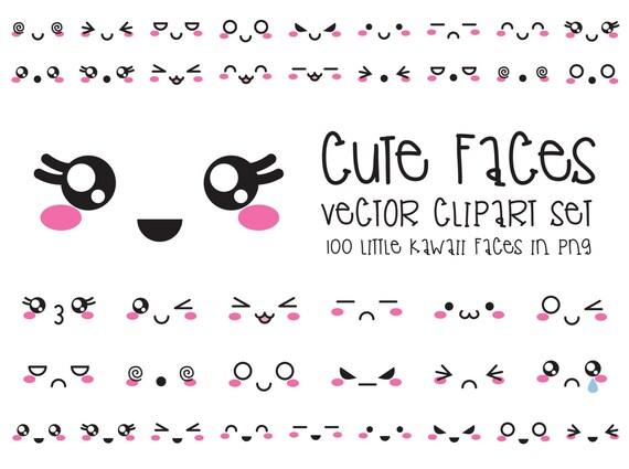 Premium vector clipart kawaii faces cute faces clipart set - Emoticone kawaii ...