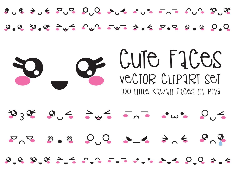 Premium Vector Clipart Kawaii Faces Cute Faces Clipart Set