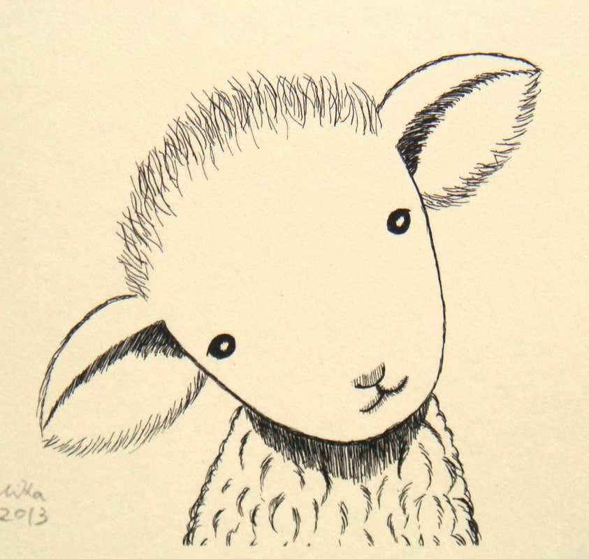 Nursery art print lamb sheep ink drawing cute lamb for Ink drawings easy