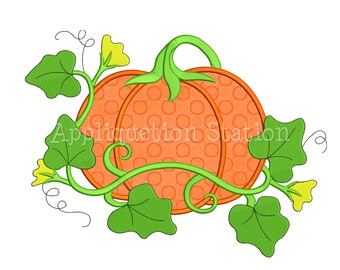 Garden Pumpkin Applique Machine Embroidery Design Fall Harvest Thanksgiving AutumnINSTANT DOWNLOAD