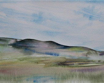 Tall Grass Prairie Landscape, Flint Hills, Kansas; original watercolor painting, fine art
