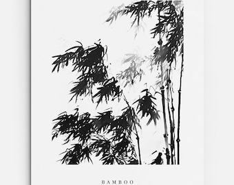 Japanese Bamboo - PRINTABLE FILE. Botanical Print. Foliage Print. Zen Hygge Home Décor. Modern Asian Wall Art. Tropical Bamboo Illustration.