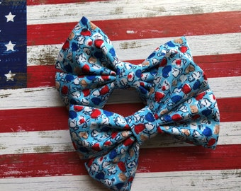 4th Of July Patriotic Flowers Hair Bow & Bow Tie
