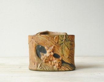 Weller Flower Vase, Weller Woodcraft 3 Foxes Art Deco Vase, Flower Frog Vase