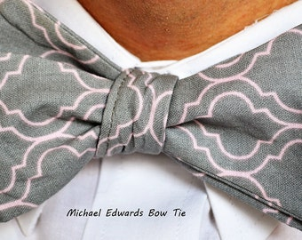 Men's Gray Bow Tie, Mens Grey Bowtie, Self-Tie Bow Tie, self tie bowtie, Men's bow Tie, Mens Bowtie, Men's Necktie, Mens Formal Wear, bowtie