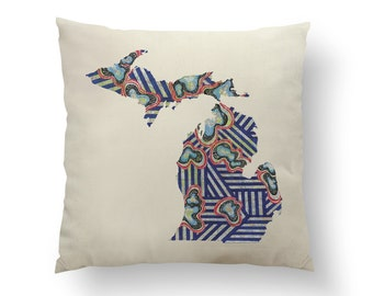 "16"" Blue Stripe Michigan State Pillow w/ Insert, holiday Throw Pillow, State Art, Michigan Gift, Housewarming Gift, Map Pillow, Throw Pillow"