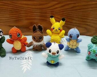 Set 7 iterm - Crochet Chibi POKEMON / Chibi Pokemon / Amigurumi Pokemon / Crochet Amigurumi / Pokemon Plushies /Pokemon plush toy