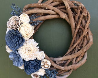 Woven Wood Wreath with Sola Flowers