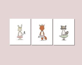 Girl Nursery Art -- Woodland Animal Art Prints -- Set of 3 Prints -- Animal Princess Collection -- Fox Bunny Raccoon -- Kids Wall Art