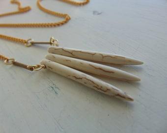 White Turquoide & Gold Bar Fringe Necklace