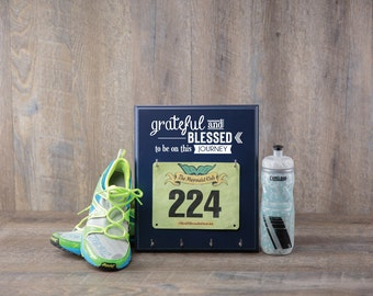 Running Medal Holder & Race Bib Hanger - Grateful and Blessed to be on this Journey