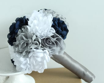 Fabric Bridal Brooch Wedding Bouquet /  Brooch Bouquet