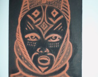 Ethnic mask in red chalk drawing