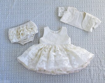 White Lace Baptism or Christening Dress with Petticoat Set