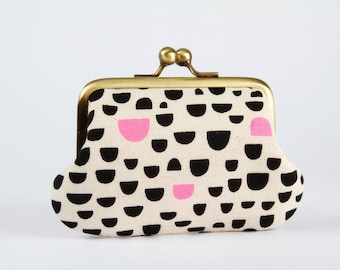 Metal frame purse with two sections - Pebbles in black and pink - Siamese daddy /Japanese fabric / Two pockets / Elle Baker / neon pink