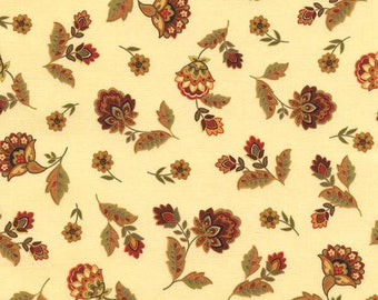 Buttercream Jacobean Floral Fabric-Marigold Collection-Timeless Treasures-Fall Fabric-Fall Floral Quilt Fabric-Jacobean Floral-Thanksgiving