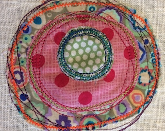 Applique designs - Circles - Doodle art Machine Embroidery - use your stash for creating colourful circles on your garments, home decor etc