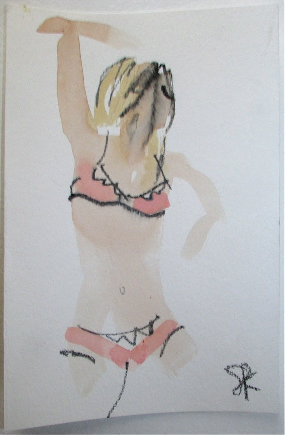 Nude painting- Boudoir Session 5.2, nude art, original, gesture sketch by Gretchen Kelly