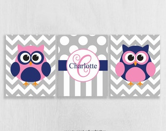 CANVAS Owl Nursery Wall Art Set of 3 - Owl Decor - Pink and Navy Nursery Decor - Childrens Art - Personalized Playroom Wall Decor