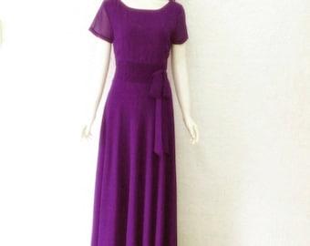 Purple Prom Bridesmaid Dress. Purple Maxi Dress. Chiffon Floor Length Dress. Long Dress With Sleeves.