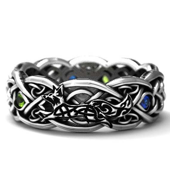 RESERVED FOR Tanya 6 Payments for Sterling Silver Celtic Fox & Peridot/Sapphire Ring Set, Celtic Fox Jewelry, Custom Ring Design 1151 1052