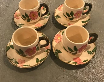 Franciscan Mugs And Saucers , Desert Rose Coffee  Cups, Made In USA China, Vintage Franciscan Desert Rose Cups And Saucers, Vintage  China